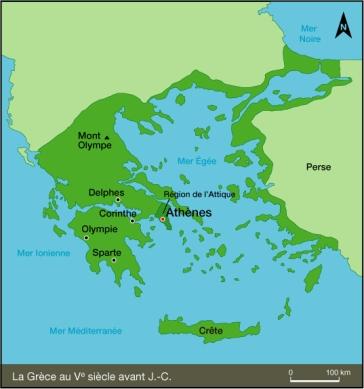 Grece-antique-carte-de-la-Grece-antique-et-de-la-Perse-mont-Olympe-Athenes-Sparte-Olympie-Crete-Delphes-Corynthe-