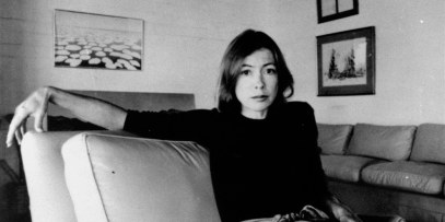 """Joan Didion, author of """"Play It as It Lays"""", and """"Slouching Towards Bethlehem"""", is pictured here on May 1, 1977.(AP Photo)"""