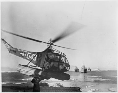 US_Navy_Antarctic_Expedition_Helicopter_returns_from_survey_of_South_Pole_waters._The_Coast_Guard_helicopter_is_shown..._-_NARA_-_196475
