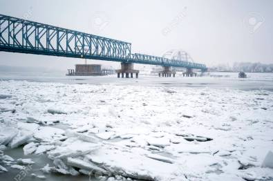 Frozen Danube River